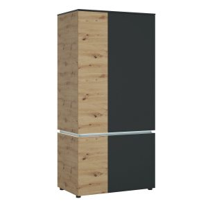 Lucy Platinum and Oak 4 door wardrobe with LED Lighting