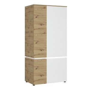 Lucy White and Oak 4 Door Wardrobe with LED lighting