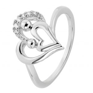 Moon & Back Sterling Silver Mother & Daughter Ring - Q