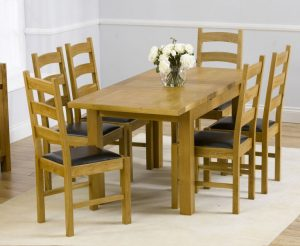 Normandy 120cm Solid Oak Extending Dining Table with Vermont Chairs - Timber, 4 Chairs