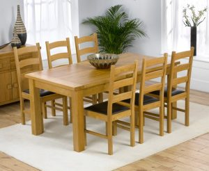 Normandy 180cm Solid Oak Extending Dining Table with Vermont Chairs - Timber, 6 Chairs