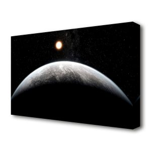 'Planet in the Dark Universe' Graphic Art Print on Canvas