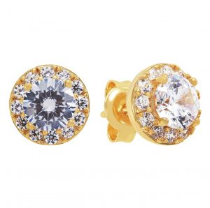 Revere 9ct Gold Plated Sterling Silver Halo Studs