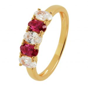 Revere 9ct Gold Plated White Cubic Zirconia Ring - S