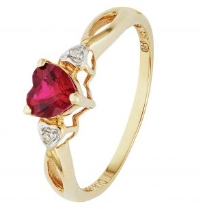 Revere 9ct Gold Ruby and Diamond Accent Heart Ring - O