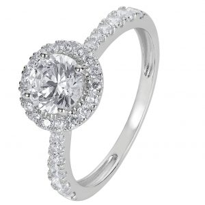 Revere 9ct White Gold Round Cut Cubic Zirconia Halo Ring - H