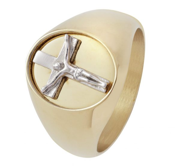Revere Men's Stainless Steel Gold Plated Crucifix Ring - P