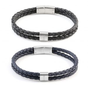 Revere Men's Stainless Steel Leather ' Dad and Son' Bracelet