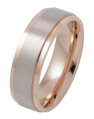 Revere Stainless Steel Rose Gold Plated Wedding Ring - P
