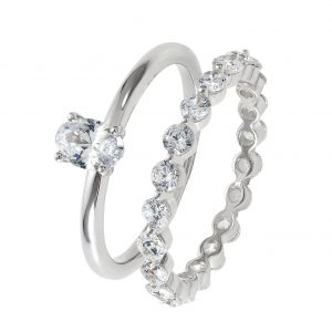 Revere Sterling Silver Cubic Zirconia Oval Bridal Ring Set-P