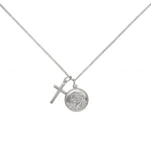Revere Sterling Silver St Christ and Cross Pendant Necklace