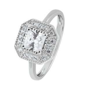 Revere Sterling Silver Vintage Cubic Zirconia Halo Ring - P