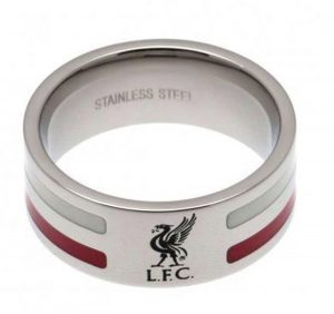 Stainless Steel Liverpool Striped Ring - Size X.