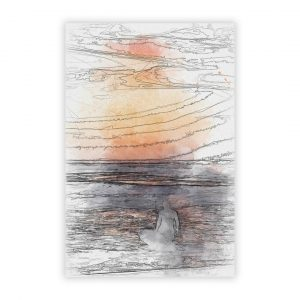 'Surfer At Sunset' - Graphic Art Print on Paper