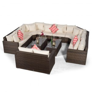 Villasenor Brown Rattan U Shape 8 Seat Sofa With 2 X Rectangular Coffee Table & 2 Seat Sofa, Outdoor Patio Garden Furniture