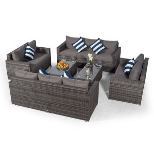 Villatoro Grey Rattan 2 X 3 Seat Sofa + 2 X 2 Seat Sofa & 2 X Rectangle Coffee Table, Outdoor Patio Garden Furniture