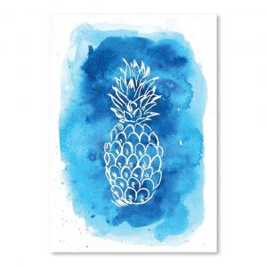 'Watercolourlue Background Pineapple' by Jetty Printables Graphic Art