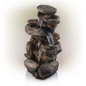 102 Cm Tall Outdoor 4-Tier Rock Water Fountain With LED Lights