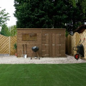12 Ft. W x 8 Ft. D Solid Wood Garden Shed