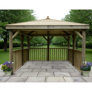 3.5m x 3.5m Wooden Gazebo with Timber Roof