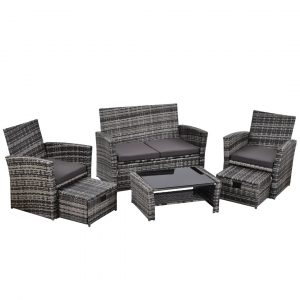 6 Seater Garden Rattan Sofa Set With Ottoman And Coffee Table