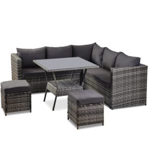 7 Seater Garden Rattan Corner Sofa Set With Dining Table And 2 Ottomans (Grey)