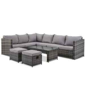 8 Seater Garden Rattan Corner Sofa Set With Coffee Table And 2 Ottomans (Grey)