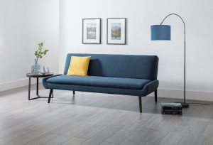 Antoni Curled Base Sofa Bed in Blue