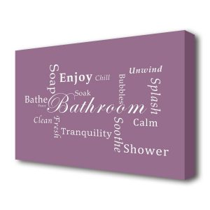 'Bathroom Quote Bathroom Tranquility' Textual Art Print on Canvas in Pink