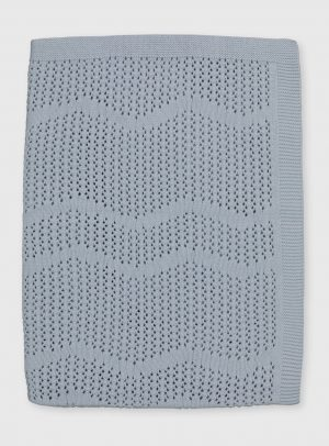 Blue Organic Cellular-Style Blanket - One Size