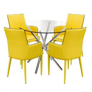 Broderick Circular Dining Set with 4 Chairs
