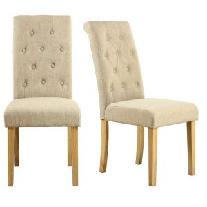 Buttoned Cream Fabric Dining Chair In One Pair