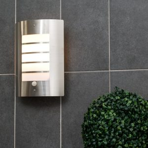 Chiswick Brushed Chrome Hardwired Frosted Glass Outdoor Bulkhead Light