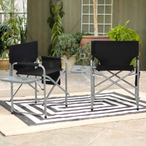Folding Director Chair Set Of 2 With Side Table And Pockets