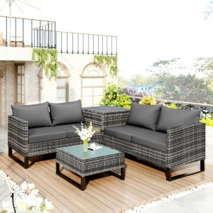 Garden Rattan Loveseat Sofa Set With Large Storage Box And 1 Coffee Table (4 Pcs)