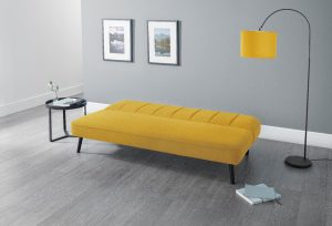 Mira Curved Back Sofa bed in Mustard