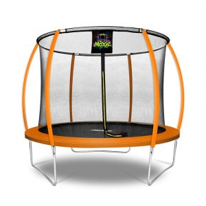 Pumpkin Shaped 10' Outdoor Backyard Above Ground Trampoline with Safety Enclosure