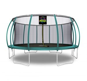 Pumpkin Shaped 16' Outdoor Backyard Above Ground Trampoline with Safety Enclosure