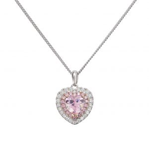 Revere 9ct Rose Gold Plated Heart Pendant Necklace