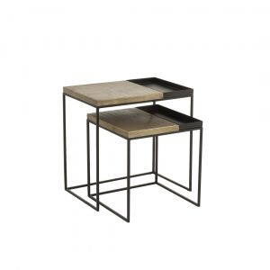 S/2 Side Table Iron Gold/Black (60X40x60cm)
