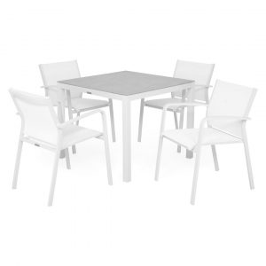 Set 4 Chairs And Square Table Ceramic White