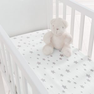 Silentnight 2 Pack Grey Star Fitted Sheets - Crib