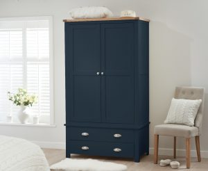 Somerset Oak and Blue Two Door Two Drawer Wardrobe