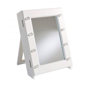 Tabletop Mirrored Jewelery Cabinet White Jewelry Storage Armoire Side Lights