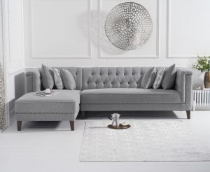 Tammie Grey Linen Left Facing 4 Seater Corner Chaise Sofa
