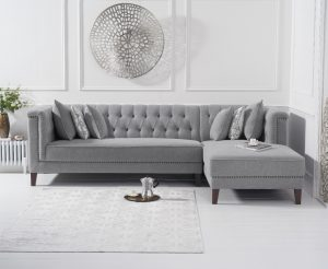 Tammie Grey Linen Right Facing 4 Seater Corner Chaise Sofa