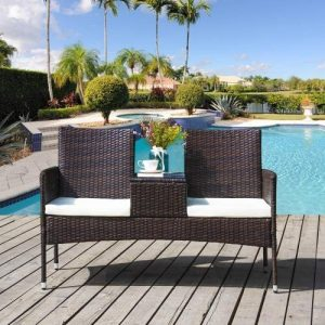 2-Seater Garden Rattan Chair Campanion Chair With Tempered Glass Coffee Table Removable Cushions Outdoor Wicker Loveseat   Garden Furniture Set With W