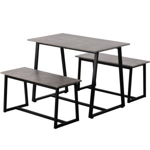 4-Seater Dining Set, 1 Dining Table With 2 Benches, Wood Table + Steel Frame, Grey + Black
