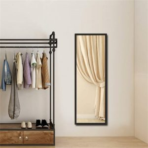 Black Full Length Wall Mirror, 14 X 48 Inches Rectangle Framed Mirror For Home Decor, 2 Pack, 122X35cm