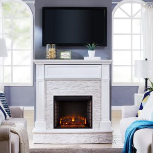 Contreras Faux Stone Infrared Media Electric Fireplace
